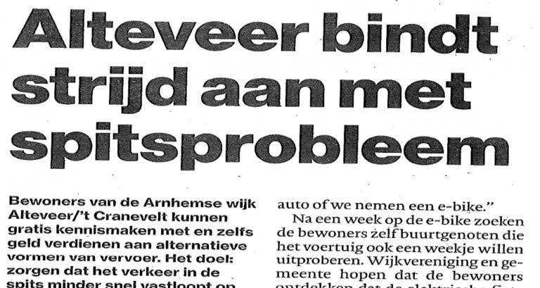 Krantenkop Gelderlander over Slim op Weg project